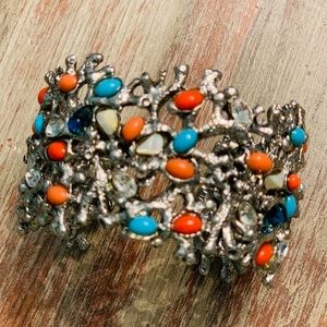 Beautiful Silver Cuff Bracelet with Stones
